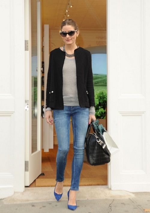 Olivia Palermo shops at the new Caudalie boutique in NYC