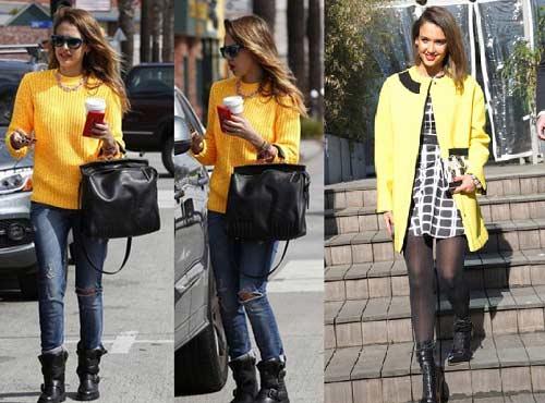 Jessica Alba de amarillo