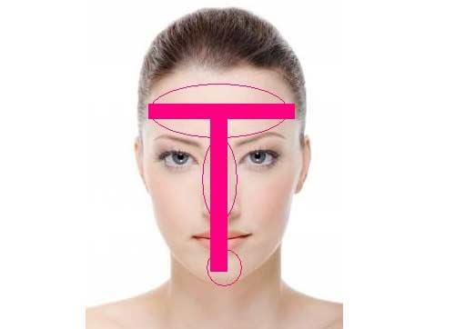 zona t de la cara